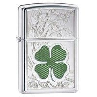 Фото Зажигалка Zippo 24699 FOUR LEAF CLOVER THUMBPRINT HIGH POLISH CHROME